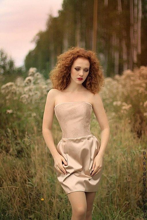 Платья ручной работы. Ярмарка Мастеров - ручная работа. Купить Коктейльное платье. Handmade. Кремовый, однотонный, кружево шантильи