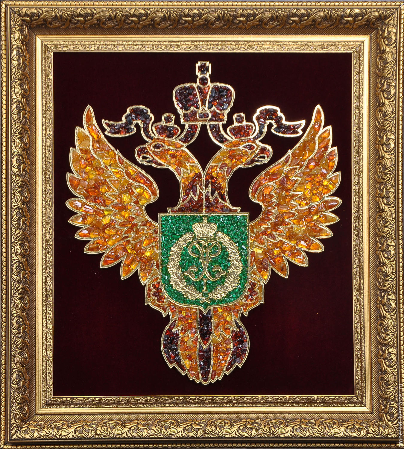 Coat of arms(Emblem) of the Federal forestry Agency of Russia (Rosleskhoz) from natural Baltic amber. The emblem will be a perfect exclusive gift to all who work in the field of forestry!