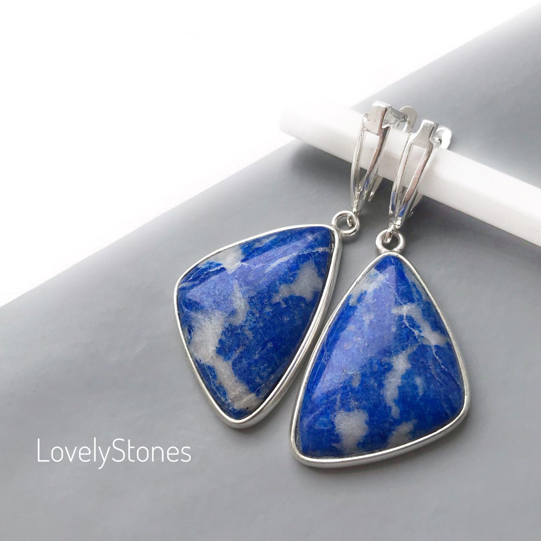 Sky earrings in the clouds with blue stones silver, Earrings, Yaroslavl,  Фото №1