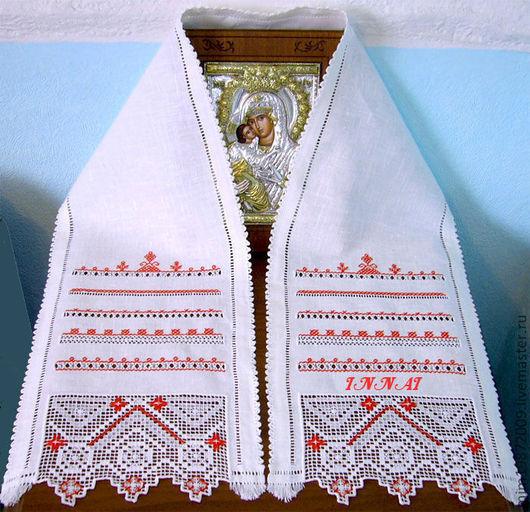 рушник, вышивка рушника, рушник на икону, божник, для благославления, ручная вышивка, рушник на свадьбу, свадебный рушник, мини-рушник, рушник с мережкой, строчевая вышивка