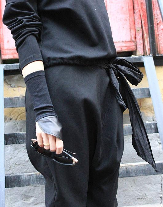 R0055B Митенки кожаные рукава стильные аксессуары дизайнерские аксессуары митенки черные стильный подарок длинные митенки перчатки без пальчиков стильный подарок девушке