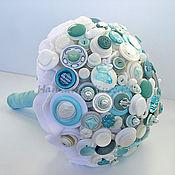 Свадебный салон ручной работы. Ярмарка Мастеров - ручная работа Букет невесты из пуговиц Мятно-Бирюзовый Фреш. Handmade.