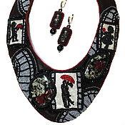 Украшения handmade. Livemaster - original item Set (necklace, earrings) made of leather and beads Old movie. Handmade.