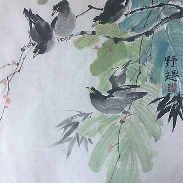 Картины и панно ручной работы. Ярмарка Мастеров - ручная работа Скворцы (китайская живопись, акварель). Handmade.