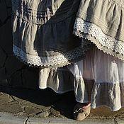 Одежда ручной работы. Ярмарка Мастеров - ручная работа Юбка летняя Лен и Кружева. Handmade.