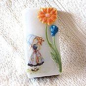 """Мыло ручной работы. Ярмарка Мастеров - ручная работа Детское мыло """"Девочка с кувшином"""", белый, девочка, цветы, весенний. Handmade."""