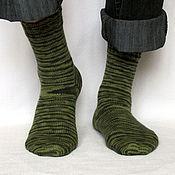 Аксессуары ручной работы. Ярмарка Мастеров - ручная работа р.41-42 Мужские камуфляжные шерстяные носки - арт. Флора зеленый хаки. Handmade.