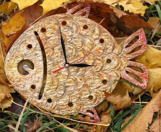"""Часы для дома ручной работы. Ярмарка Мастеров - ручная работа. Купить Часы """"Золотая рыбка"""". Handmade. Желтый, мечты"""