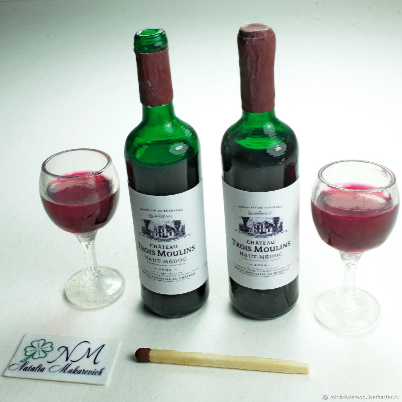 Набор бутылка вина и бокал с вином, Кукольная еда, Щелково,  Фото №1
