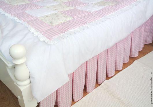 Подзор юбка для кровати в детскую комнату для девочки стиль Прованс, Шебби Шик. Постельное белье Прованс. подзор Шебби Шик. Текстиль для детской комнаты