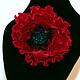 брошь подарок,брошь цветок,брошь мак,цветы из полимерной глины,украшение с цветами,украшение с маком,новый год 2015,цветы ручной работы.
