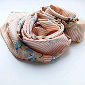Платки ручной работы. Ярмарка Мастеров - ручная работа Платок средний нежный персик. Голубой цветок.. Handmade.
