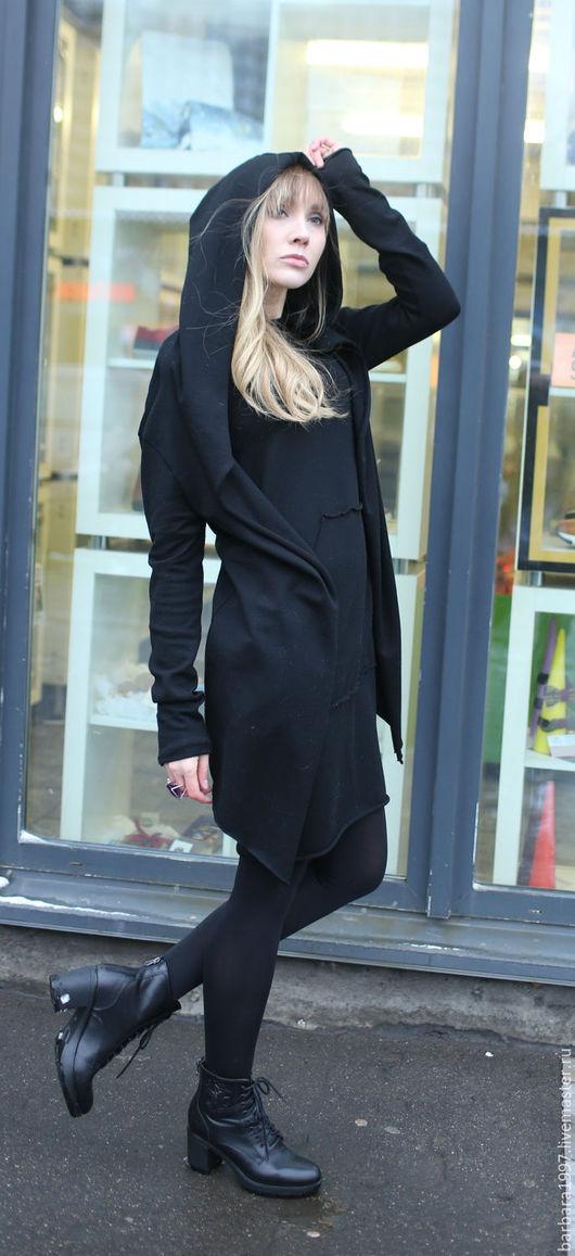 Кофты и свитера ручной работы. Ярмарка Мастеров - ручная работа. Купить Кардиган Black Robe. Handmade. Черный, необычный крой
