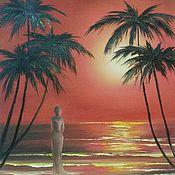 Картины и панно ручной работы. Ярмарка Мастеров - ручная работа Наблюдающая закат на море. Handmade.