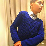 Работы для детей, ручной работы. Ярмарка Мастеров - ручная работа Пуловер на мальчика для школы и не только. Handmade.