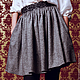 юбка, юбка женская, юбка на заказ, юбка дизайнерская, дизайнерская одежда, юбка до колен, серая юбка, меланжевая  юбка, юбка с поясом, ажурный пояс, черный ажурный пояс, юбка со складками, юбка со сбо