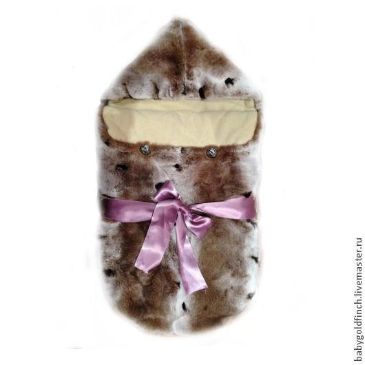 Для новорожденных, ручной работы. Ярмарка Мастеров - ручная работа. Купить Зимний меховой конверт для новорожденного на выписку и в коляску. Handmade.