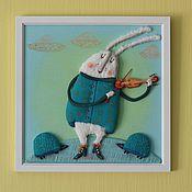 Картины и панно ручной работы. Ярмарка Мастеров - ручная работа Кролик Скрипач. Handmade.