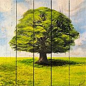 Картины и панно handmade. Livemaster - original item Paintings on boards: author`s painting Oak on aged boards. Handmade.