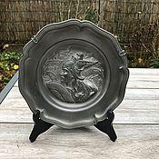 Винтаж handmade. Livemaster - original item Pewter decorative wall plate
