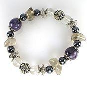 Украшения handmade. Livemaster - original item Б23 Bracelet with amethyst, Topaz, quartz and hematite.. Handmade.