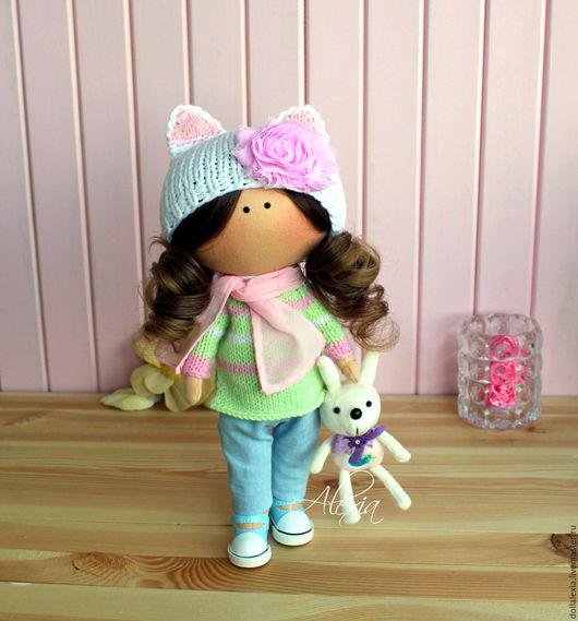 Текстильная интерьерная кукла тыквоголовка МаЛиНа: -Я иду к ВАМ)) Кукла для интерьера в подарок