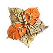 Украшения handmade. Livemaster - original item Brooch made of leather flat leaf fall colored leaves with beads in the assortment. Handmade.