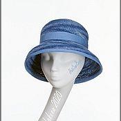 Аксессуары handmade. Livemaster - original item Summer hat with brim. Blue hat Cloche. Fashionable hats 2020. Handmade.