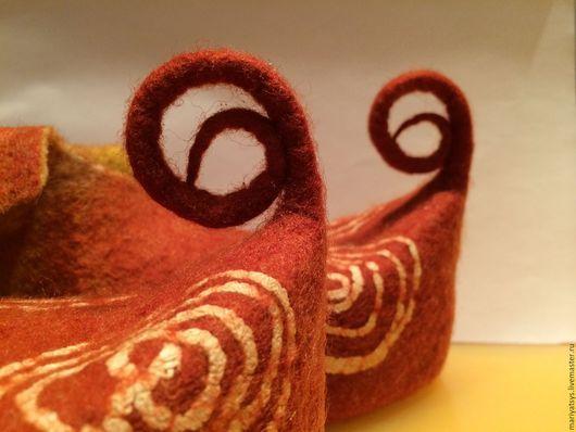 Обувь ручной работы. Ярмарка Мастеров - ручная работа. Купить Башмачки. Handmade. Коричневый, валяные тапочки