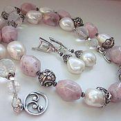"""Украшения handmade. Livemaster - original item Колье серьги """"Розовый фламинго"""" андский опал, серебро. Handmade."""