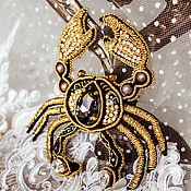 Украшения handmade. Livemaster - original item Brooch king crab. Brooch beads. Gold brooch. Brooch crab.. Handmade.