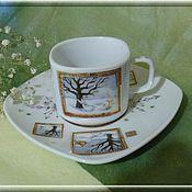 """Посуда ручной работы. Ярмарка Мастеров - ручная работа Кофейная пара """"Зимнее утро"""". Handmade."""