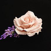 Украшения ручной работы. Ярмарка Мастеров - ручная работа Заколка- брошь с розой и сиренью. Handmade.