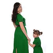 """Одежда ручной работы. Ярмарка Мастеров - ручная работа Платья для мамы и дочки """"Изумрудное вдохновение"""". Handmade."""