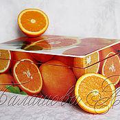 """Для дома и интерьера ручной работы. Ярмарка Мастеров - ручная работа Шкатулка для чая """"Оранжевое настроение"""". Handmade."""