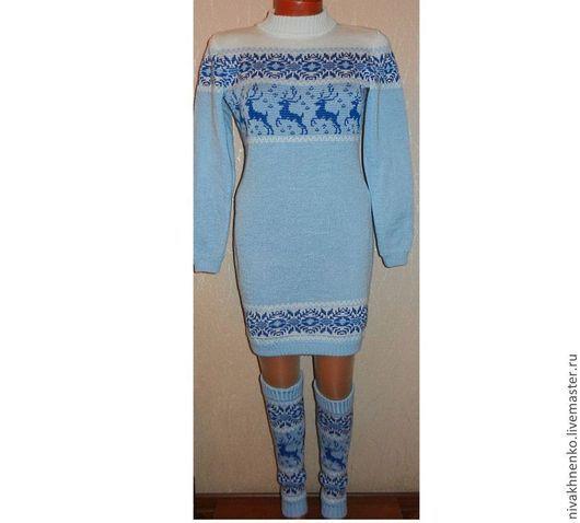 Кофты и свитера ручной работы. Ярмарка Мастеров - ручная работа. Купить Вязаный комплект Снегурочка с оленями и норвежским орнаментом. Handmade.