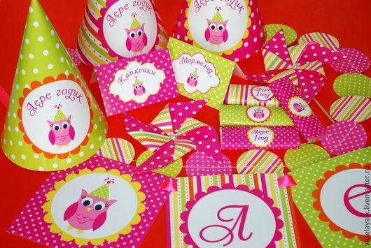 """Праздничная атрибутика ручной работы. Ярмарка Мастеров - ручная работа. Купить Декор дня рождения (Candy bar) """"Веселая сова """".. Handmade."""