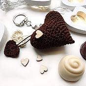 Сумки и аксессуары handmade. Livemaster - original item Keychain 5 cm Knitted heart Dark chocolate. Handmade.