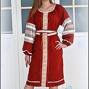 Одежда handmade. Livemaster - original item Slavic linen dress