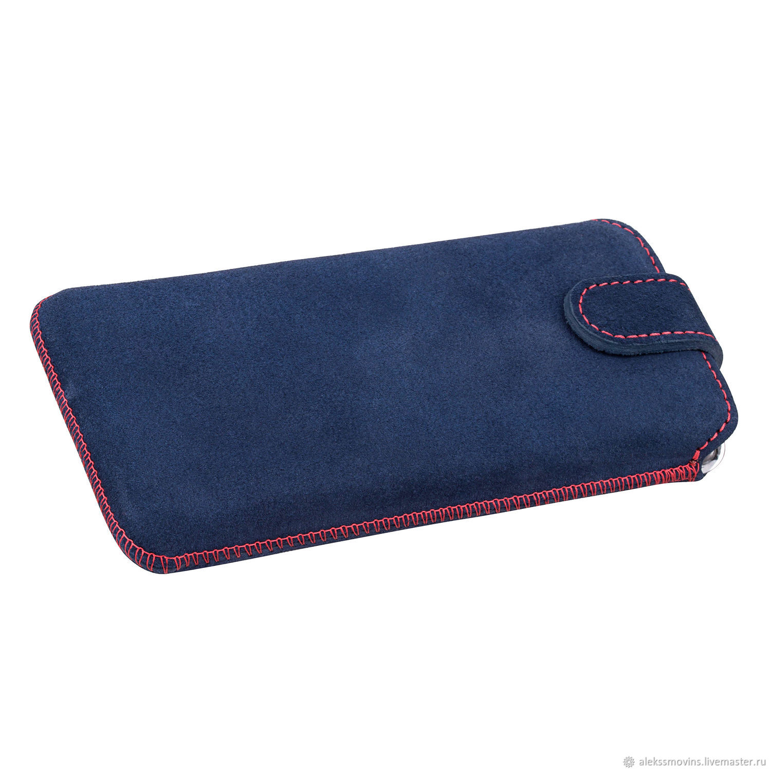 Case for iPhone 6 7 8 Blue suede leather With red stitching, Covers, Riga, Фото №1