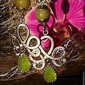 Украшения handmade. Livemaster - original item Silver plated earrings clip-on earrings with onyx !Orchid! pending. Handmade.