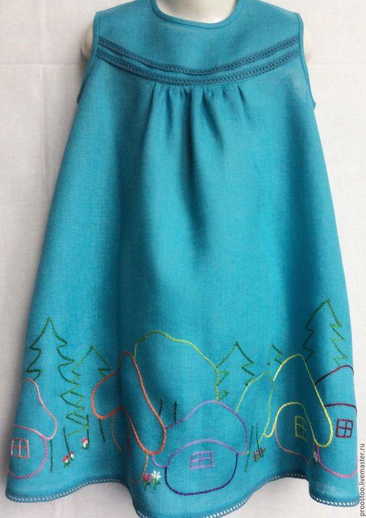 Одежда для девочек, ручной работы. Ярмарка Мастеров - ручная работа. Купить Платье детское льняное Домики. Handmade. Тёмно-бирюзовый