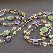 Украшения handmade. Livemaster - original item BLOSSOM with pendant of prehnite, citrine, amethyst. Handmade.