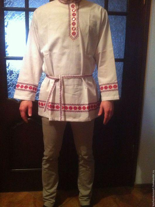 Одежда ручной работы. Ярмарка Мастеров - ручная работа. Купить Мужская рубаха в русском стиле. Handmade. Белый, рубашка из хлопка