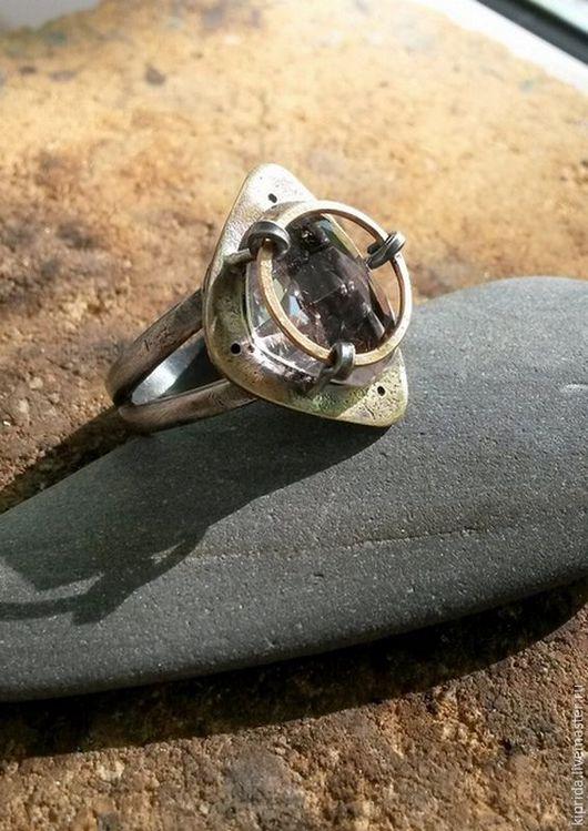 Кольца ручной работы. Ярмарка Мастеров - ручная работа. Купить Кольцо Victorian (серебро, латунь, голдфилд, кунцит). Handmade. Серебряный