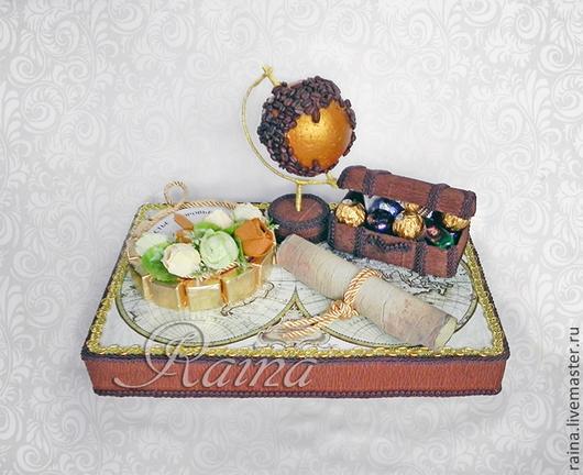 Букеты ручной работы. Ярмарка Мастеров - ручная работа. Купить Букет из конфет, композиция из конфет для путешественника.. Handmade. Коричневый, глобус