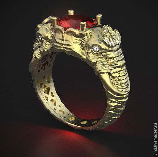 Кольцо `Слон` из золота 750 пробы Центральный камень - шпинель 2,18ct. Бриллианты