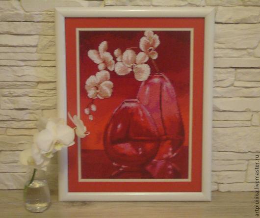 Картины цветов ручной работы. Ярмарка Мастеров - ручная работа. Купить Картина вышитая крестом и бисером Орхидеи в вазе. Handmade.