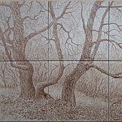 Картины ручной работы. Ярмарка Мастеров - ручная работа Осень. Голые деревья (картина на плитке). Handmade.