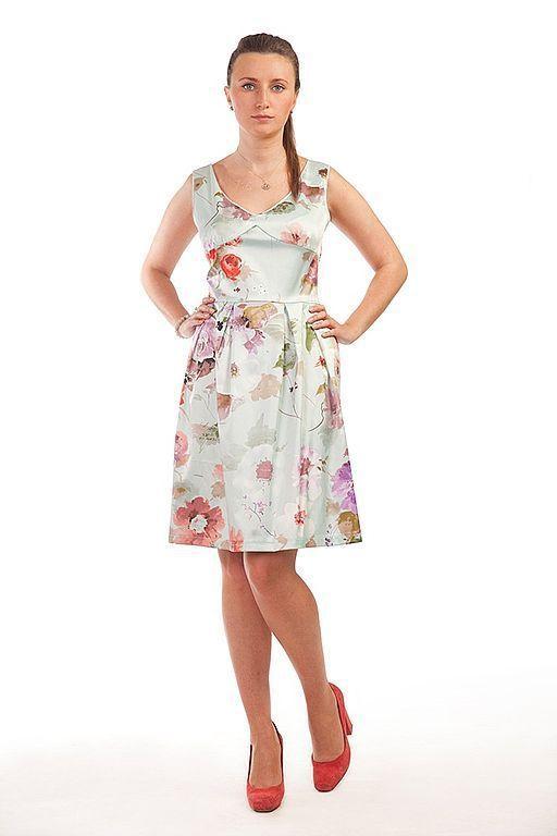 Платья ручной работы. Ярмарка Мастеров - ручная работа. Купить Платье с юбкой-колокол - голубое. Handmade. Платье, авторское платье